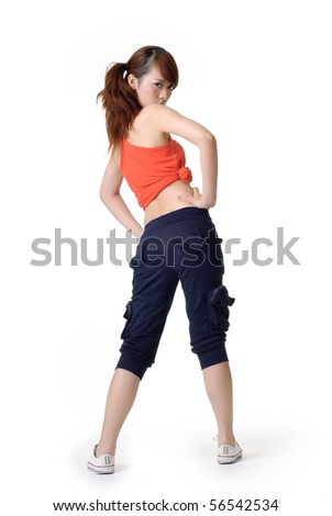 Athletic sport girl back, full length portrait of oriental woman isolated on white background.