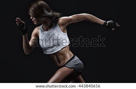 athletic sprinter woman 3d...