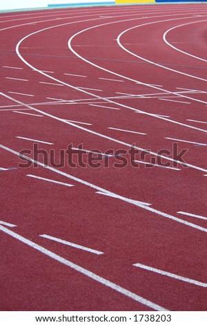 Athletic stadium with running-tracks