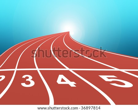athletic track over blue background. abstract illustration