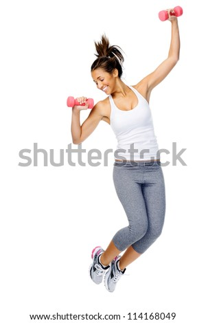 Athletic woman jumping with dumbbells isolated on white background