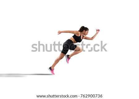 Athletic woman runner isolated on white background #762900736