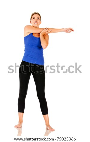 Athletic woman stretching her arm - isolated over a white background