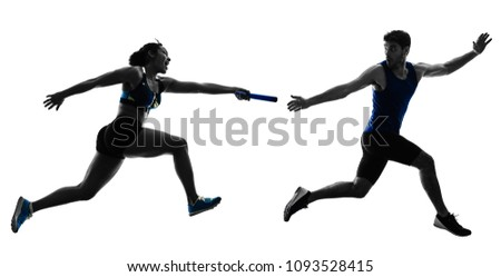athletics relay runners sprinters running runners in silhouette isolated on white background Foto d'archivio ©
