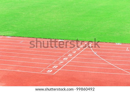 Athletics stadium running track