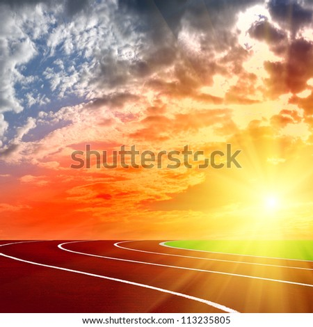 Athletics Track Lane with beautiful sky on sunset