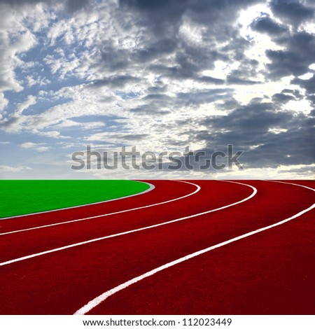 Athletics Track Lane with beautiful sky over the sunset