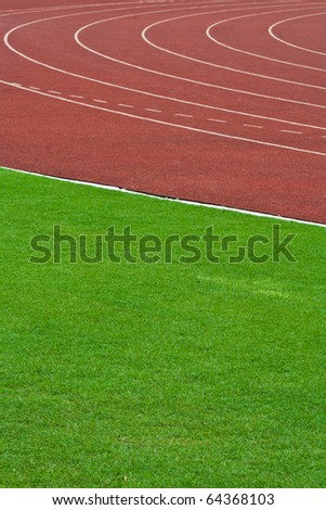Athletics Track Lanes and grass