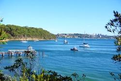 Athol beach, Bradleys Head, Sydney harbour, Australia, view point