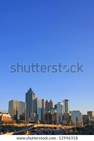 Atlanta cityscape at dusk - lots of sky space for tect