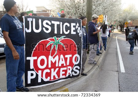 ATLANTA, GA - MAR. 2: The Coalition of Immokalee Workers (CIW) stages a protest on March 2, 2011, at a Publix supermarket in Atlanta over wages and working conditions for tomato pickers in Florida.