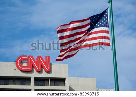 ATLANTA, GEORGIA - AUG 8: CNN headquarters news building August 8, 2011 in Atlanta, GA. CNN, founded in 1980 by Ted Turner,  was the first channel to provide 24-hour television news coverage.