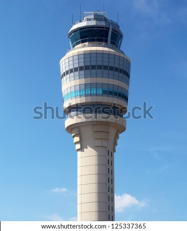 ATLANTA GEORGIA AUGUST 27 Air Traffic Control Tower at Atlanta Hartsfield-Jackson Airport on August 27 2012 It has been the world's busiest airport by since 1998