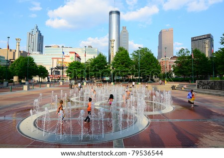 ATLANTA, GEORGIA - MAY 11: Centennial Olympic Park was built for the Centennial 1996 Summer Olympics and still remains a popular leisure destination on May 11, 2011 in Atlanta, georgia.