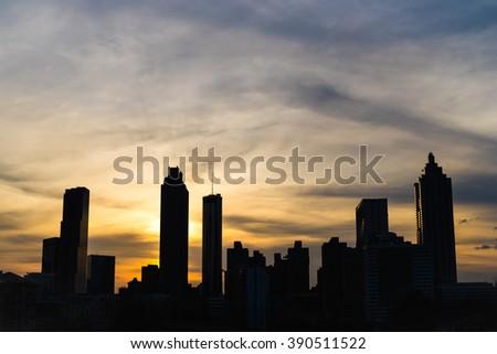 Atlanta, Georgia skyline silhouette at sunset