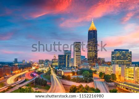 Atlanta, Georgia, USA downtown and midtown skyline at dusk.