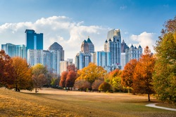 Atlanta, Georgia, USA midtown skyline from Piedmont Park in autumn.