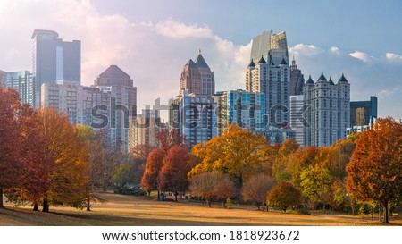 Atlanta, Georgia, USA midtown skyline from Piedmont Park in autumn in the afternoon. Stock photo ©