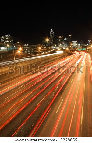 Atlanta rush-hour at night -  long exposure, ultra wide angle - Very dramatic