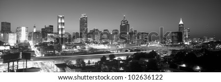 Atlanta Skyline at Dusk, grayscale, Georgia