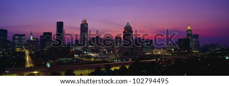 Atlanta Skyline, I-20, Georgia