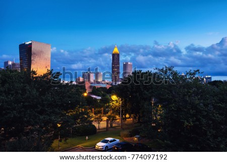 Atlanta, USA. Midtown in Atlanta, USA at night. Clouds over the Bank of America Plaza in the morning