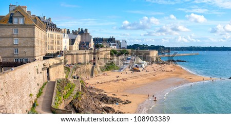 Atlantic beach under the walled city of St Malo, Brittany, France