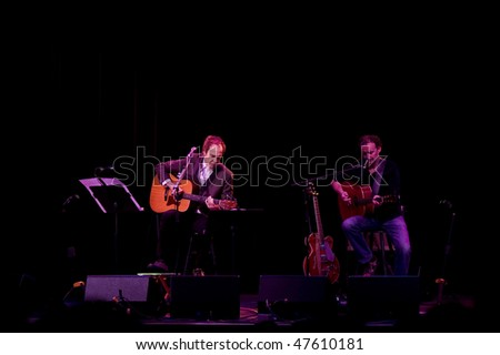 ATLANTIC CITY - FEB 26: Ray Davies (L) founding member of The Kinks, performs with Bill Shanley at the Borgata Casino February 26, 2010 in Atlantic City, NJ