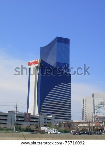 ATLANTIC CITY, NEW JERSEY - APRIL 20: Harrah's Hotel in the Marina section of Atlantic City, on April 20, 2011. The Waterfront Tower is the second tallest building in the city at 525 feet high.