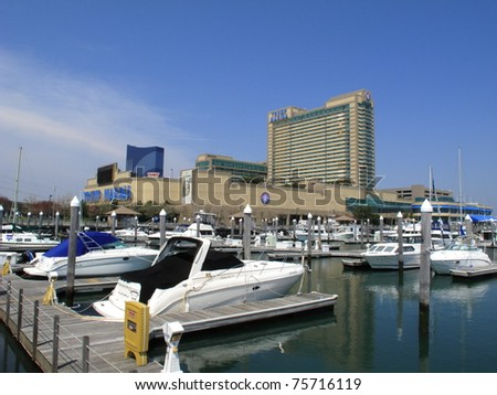 ATLANTIC CITY, NEW JERSEY - APRIL 20: Trump Marina Hotel in the Marina section of Atlantic City, on April 20, 2011. The resort opened in 1985 and includes the 640 slip Frank S. Farley State Marina.