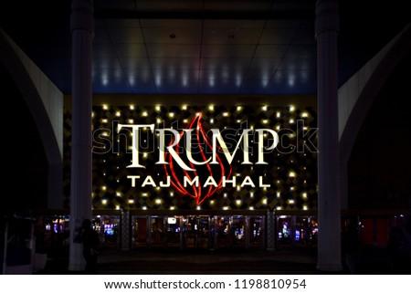 Atlantic City, UNITED STATES OF AMERICA- AUGUST 15,2016 : Entrance of the Trump Taj Mahal hotel, casino at night - Atlantic City, USA #1198810954