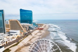Atlantic city waterline aerial view. AC is a tourist city in New Jersey famous for its casinos, boardwalks, and beaches