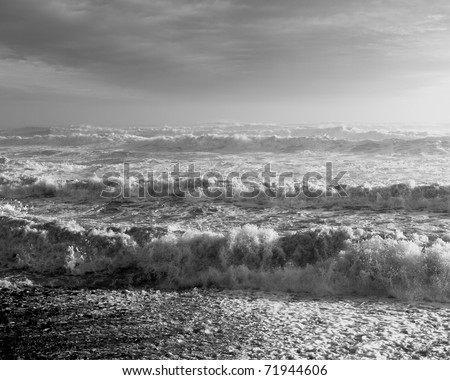 Atlantic coast during a winter storm - stock photo