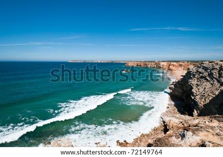 Atlantic coast near Sagres. The most western coast of Algarve