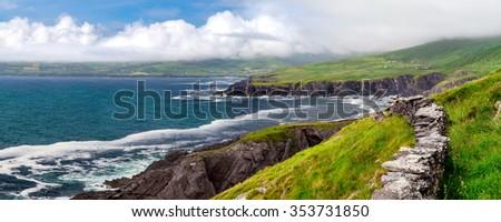 Atlantic Coastal Cliffs of Ireland on the Ring of Kerry, near Wild Atlantic Way.