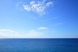 Atlantic ocean - beautiful seascape sea horizon and blue sky, natural photo background