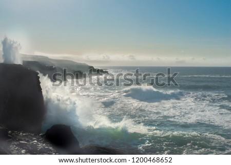 Atlantic ocean crashing against the the west coast of Ireland. #1200468652