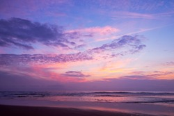 Atlantic ocean sunset with pink and purple sky, Lacanau France