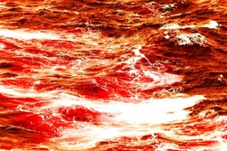 Atlantic ocean with red bloody water on a sunny day. Waves, foam and wake caused by cruise ship in the sea, image for animal protection, ecology concepts