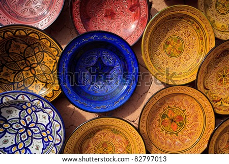 Atlas Mountains, Morocco: ornate traditional artwork on pottery and plates Atlas Mountains, Morocco