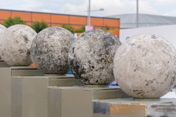 Atlas Stones on their podiums at a Strongman Contest  (NOTE: This is NOT artwork)