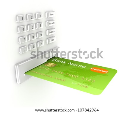 Atm concept.Isolated on white background.3d rendered.
