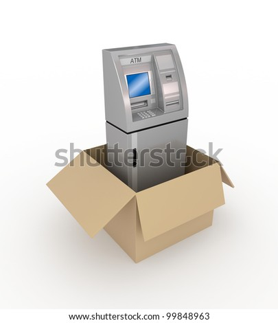 ATM in a carton box.Isolated on white background.3d rendered. - stock photo