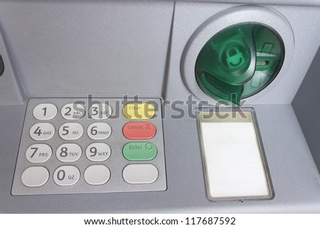 ATM keypad bank teller money dispenser