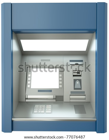 ATM machine with blank screen. 3D render.