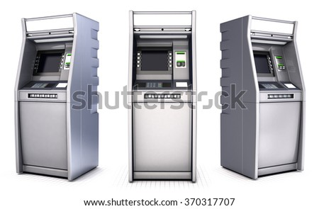 ATM series of images. Isolated on white