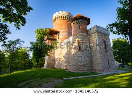 Atmospheric architecture of Vlad Tepes castle in Bucarest's Carol park. A place filled with a lot of medieval history and myth Foto stock ©