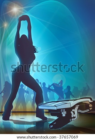 Atmospheric illustration of a night club scene, with dancing girl silhouette and abstract record player