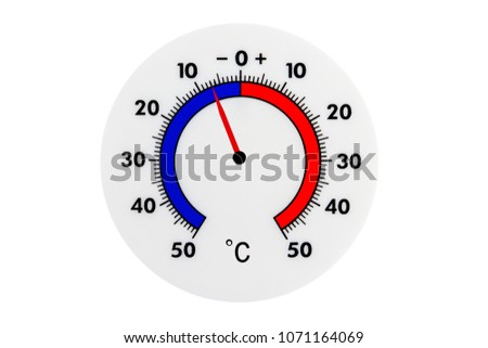 Atmospheric plastic meteorology thermometer isolated on white background. Air temperature minus 7 degrees.