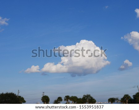 Atmospheric Sky of White Fluffy Cloud